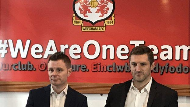 Wrexham director Spencer Harris (L) with new manager Sam Ricketts