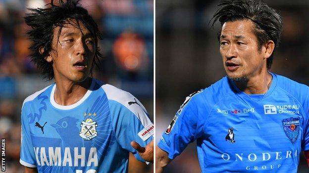 Shunsuke Nakamura (left) and Kazuyoshi Miura (right) have a combined age of 93