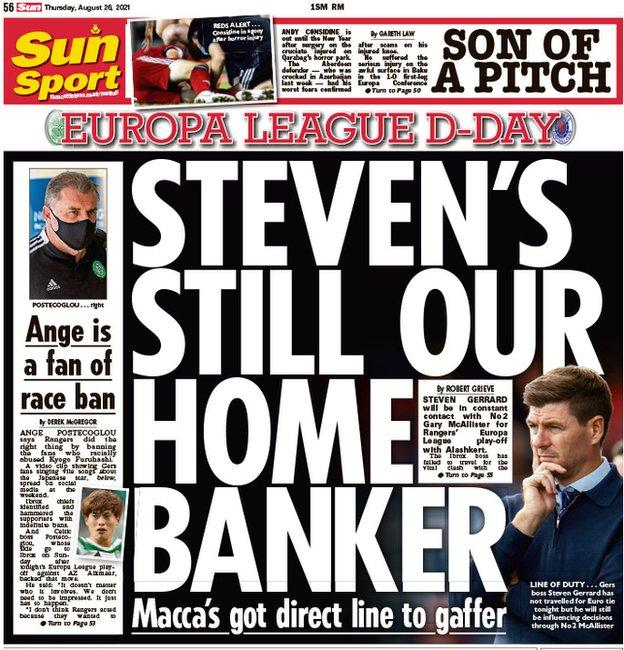 The back page of the Scottish Sun on 260821
