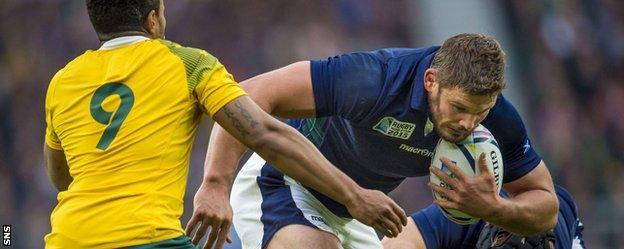 Scotland hooker Ross Ford in action against Australia