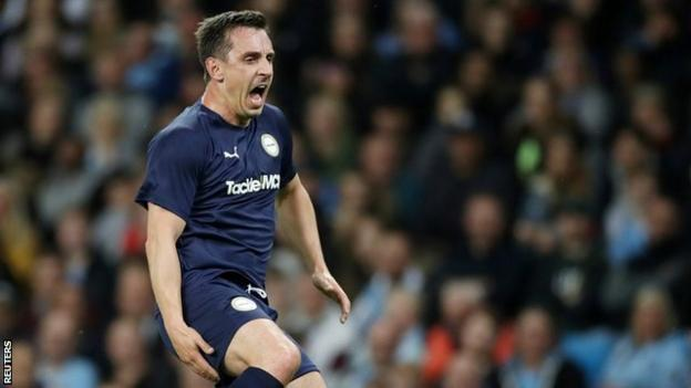 Former Manchester United defender Gary Neville had a night to forget as he pulled his hamstring and was forced off