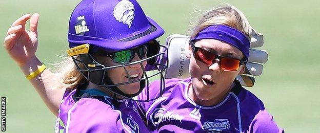 Heather Knight celebrates a wicket for Hobart Hurricanes