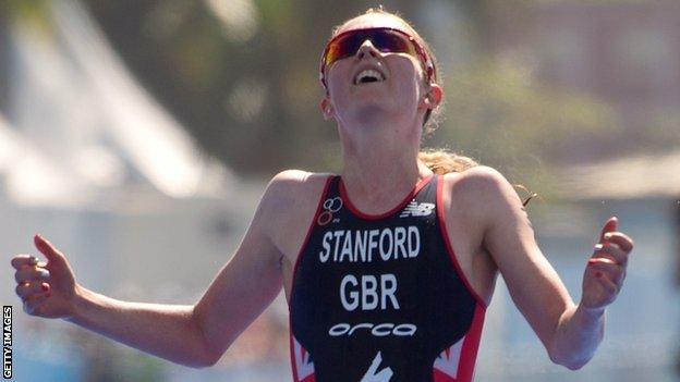 Non Stanford celebrates her second place at the ITU World Olympic Qualification Event in Brazil in 2015