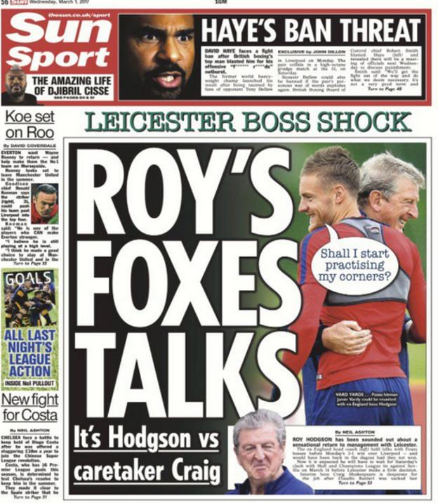 Wednesday's Sun back page focuses on Roy Hodgson's link with the vacant Leicester job
