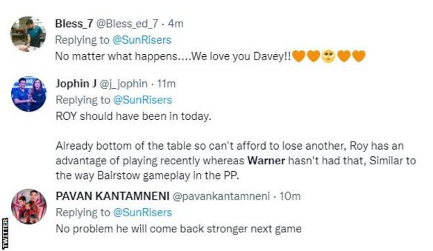 """Sunrisers fans on Twitter react to David Warner's dismissal. One fan says """"No matter what happens....We love you Davey"""", another says he will """"come back stronger"""", while a third fan says """"Roy should have been in today""""."""