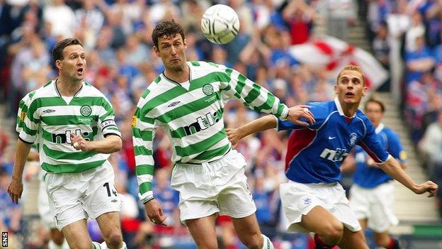 Celtic's Paul Lambert, left, and Chris Sutton challenge Peter Lovenkrands of Rangers, right in the 2002 final