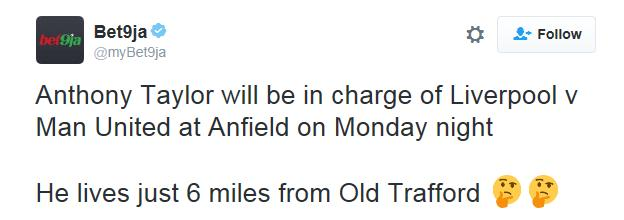 Tweet from a Liverpool fan questioning Anthony Taylor's appointment