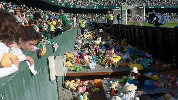 Real Betis fans and toys