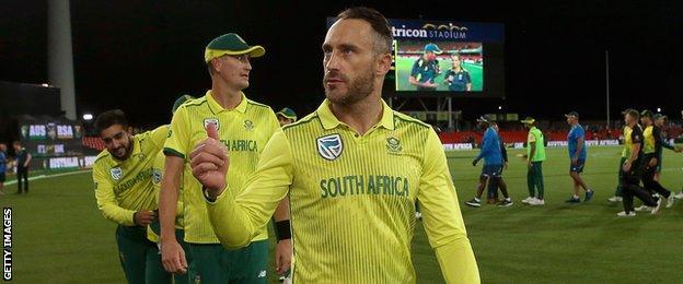 Captain Faf du Plessis after South Africa win the Twenty20 international