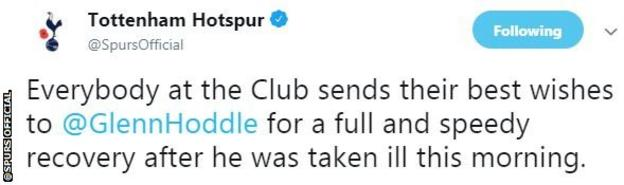 """Spurs' Twitter account wishes Hoddle a """"full and speedy recovery"""""""