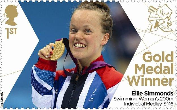 Ellie Simmonds on a stamp celebrating her exploits in 2012