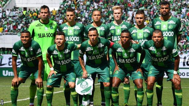 The new players of Chapecoense pose