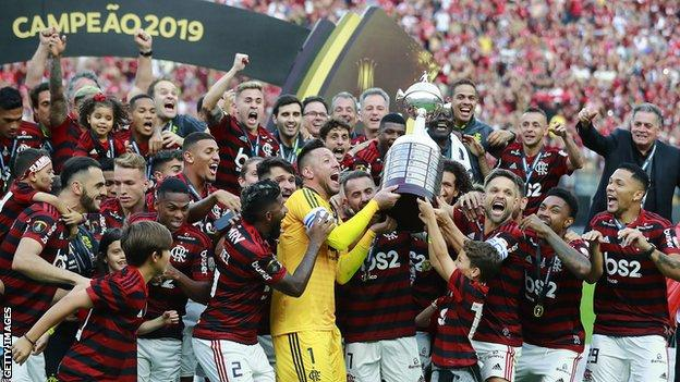Flamengo celebrate winning the 2019 Copa Libertadores