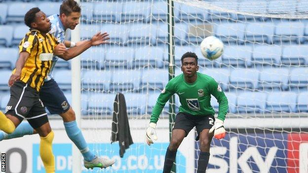 Reice Charles-Cook's league debut for Coventry City came in the 3-0 win at home to Shrewsbury Town on 3 October