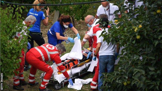 Chloe Dygert is treated by medics