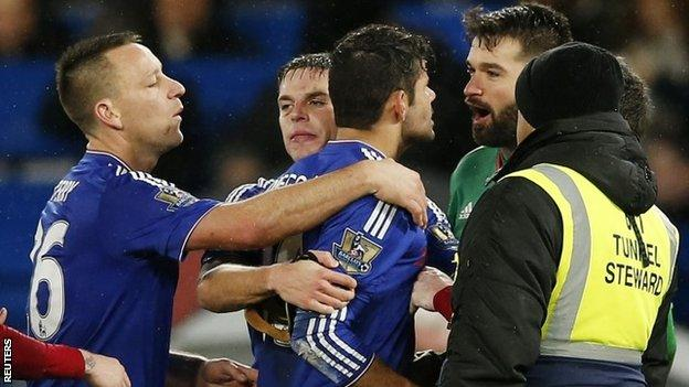 Diego Costa clashed with West Brom players on a number of occasions