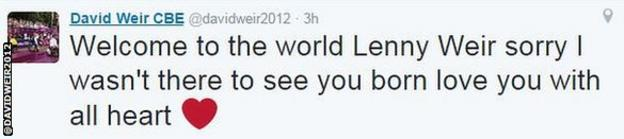 David Weir, who won four gold medals at London 2012, tweeted about the birth of his fourth child