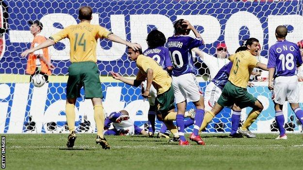 Tim Cahill wheeling away against Japan at the 2006 World Cup