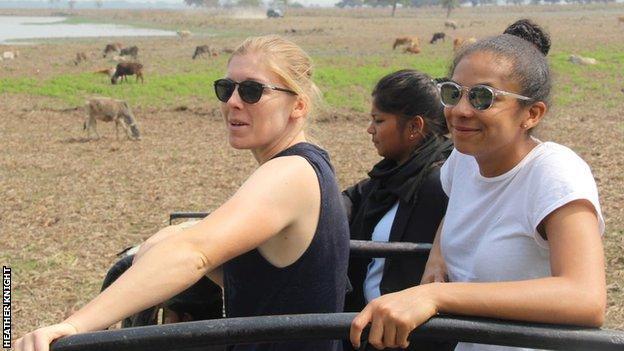 Heather Knight and Sophia Dunkley on safari