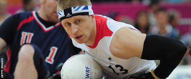 Aaron Phipps in wheelchair rugby action at London 2012