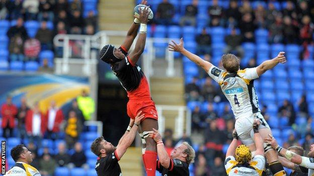 Maro Itoje soars to take a line-out for Saracens