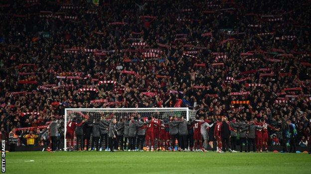Liverpool's players celebrate in front of the Kop after their Champions League semi-final win over Barcelona last season