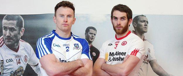 Tyrone's Ronan McNamee and Monaghan's Fintan Kelly at an event on Monday promoting Saturday's Division One league game between the counties
