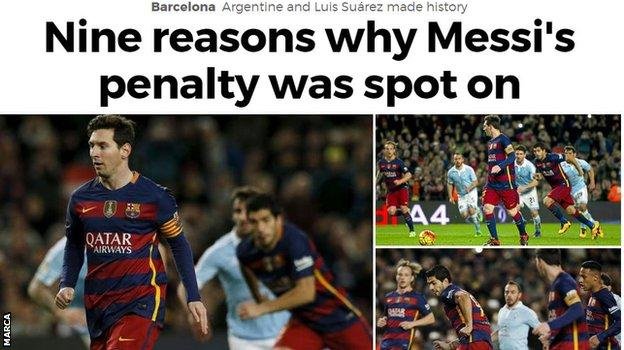 Marca's English website leading on the Barcelona penalty