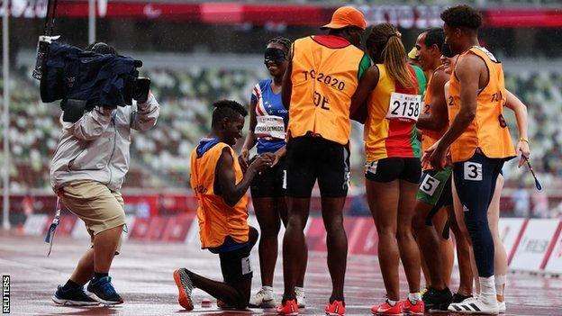 Cape Verdean sprinter Keula Pereira Semedo and her guide Manuel Vaz da Veiga