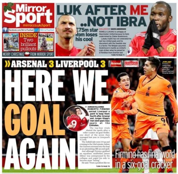 Saturday's Daily Mirror