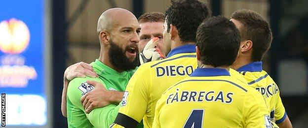 Diego Costa and Tim Howard