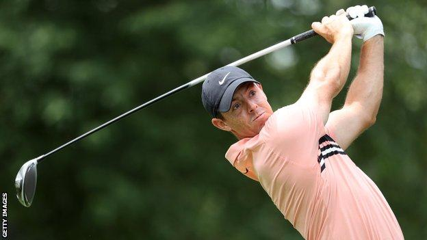Rory McIlroy tees off at the seventh hole during Thursday's first round
