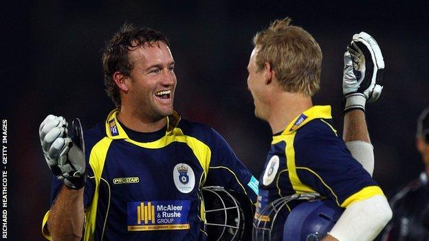 Sean Ervine (left) and Jimmy Adams were at the crease together when Hampshire won the T20 for the first time at The Rose Bowl in 2010