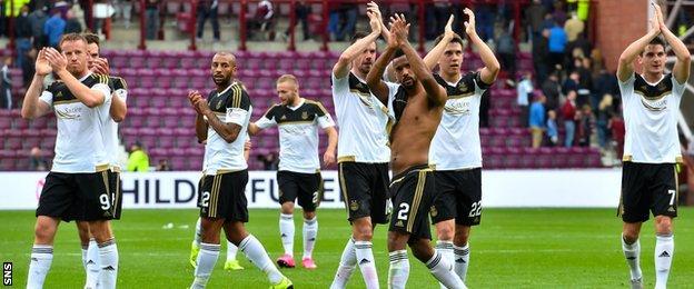 Aberdeen celebrate beating Hearts