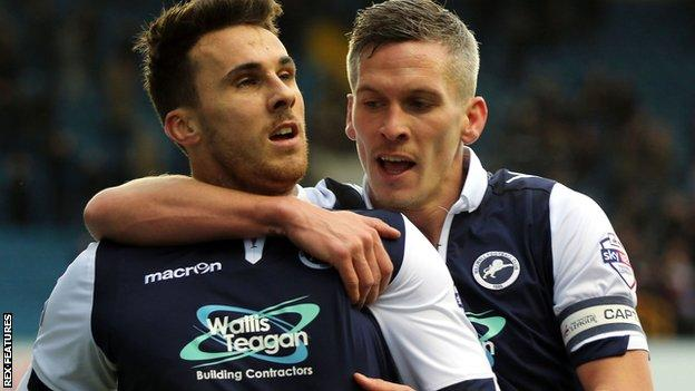 Lee Gregory and Steve Morison celebrate Millwall's opening goal against Port Vale