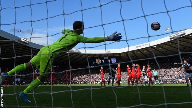 England goalkeeper Joe Hart is beaten by Scotland's Leigh Griffiths