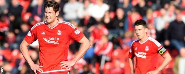 Aberdeen's Ash Taylor and Ryan Jack look stunned