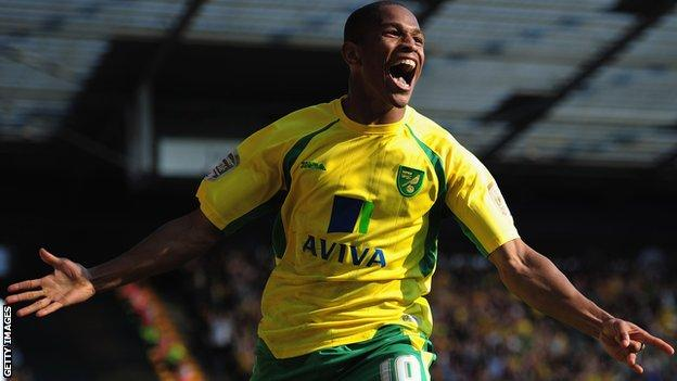 Simeon Jackson celebrates scoring for Norwich City