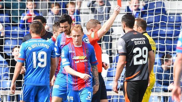 Kilmarnock keeper Jamie MacDonald is sent off at Inverness