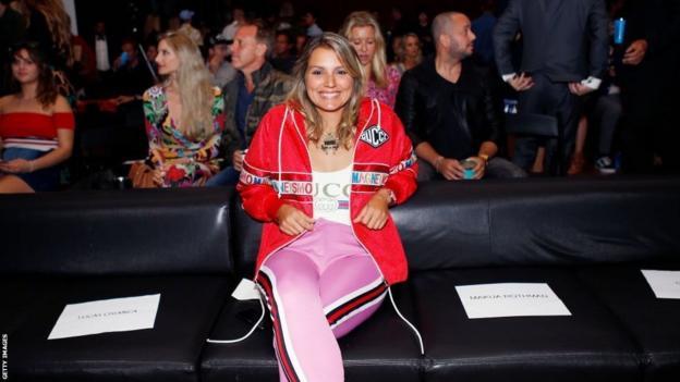 Maya Gabeira at an awards ceremony
