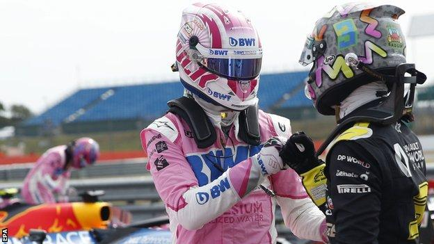 positive news Nico Hulkenberg and Daniel Ricciardo fist bump after qualifying