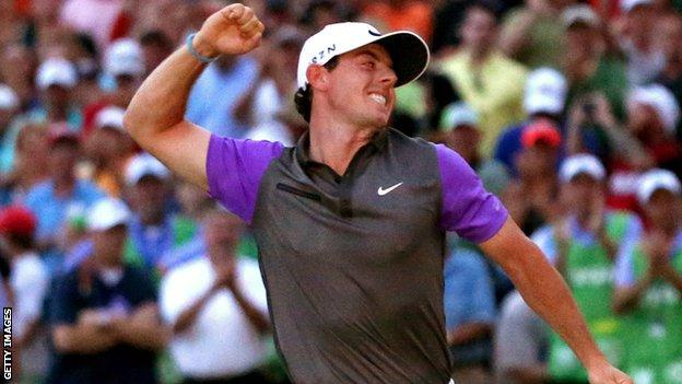 Rory McIlroy celebrates winning the last of his four majors - the US PGA Championship at Valhalla in 2014
