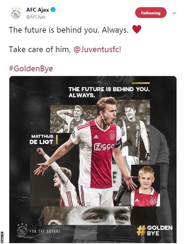 Ajax tweet following Matthijs de Ligt moving to Juventus