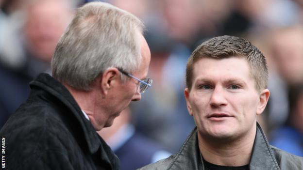 Boxer Ricky Hatton (right) with then-Manchester City boss Sven-Goran Eriksson in March 2008