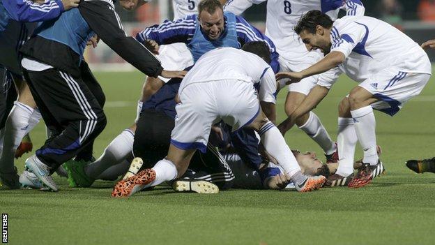San Marino celebrate Matteo Vitaioli's goal