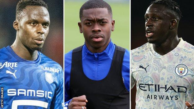 Edouard Mendy (left), Nampalys Mendy (centre) and Benjamin Mendy (right)