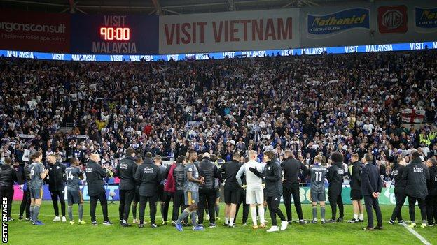 Leicester players and fans in Cardiff