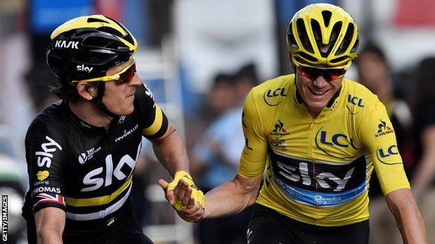 Geraint Thomas and Chris Froome celebrate at end of 2016 Tour