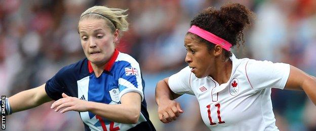 Great Britain's Kim Little with Desiree Scott of Canada at the London 2012 Olympic Games