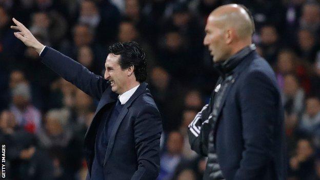 PSG boss Emery (left) and Zinedine Zidane